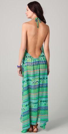 JOSA tulum Halter Cover Up Maxi Dress, great print