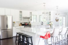 Love the L-shaped marble island  Reno Reveal: The Kitchen