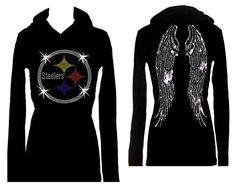 5aff73e0caa3 Steelers Football Angel Wings Rhinestone Bling Womens Tee Shirt Hoodie  Large     Visit the