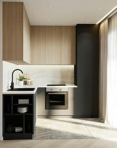 You can transform your small kitchen by decorating it in an aesthetic way. Small kitchens can feel cramped and cluttered just by having the necessary elements and appliances in them. Bathroom Design Small, Bathroom Interior Design, Kitchen Interior, Kitchen Dinning, Home Decor Kitchen, Home Kitchens, Simple Kitchen Design, French Home Decor, Küchen Design