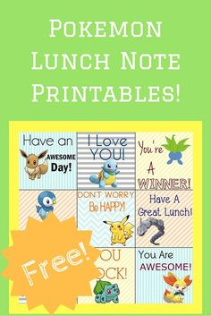 Pokemon Printable Lunch Notes for Your Little PokeMaster!