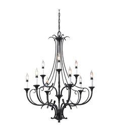 Feiss F2534/6+3BK Peyton 9 Light 31 inch Black Chandelier Ceiling Light #lightingnewyork #lny #lighting