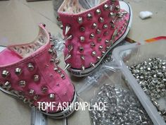 Studed Converse shoes Converse All Star shoes by Tomfashionplace, $128.00