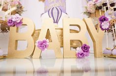 """Gold """"Baby"""" block letters from a Hot Air Balloon Baby Shower on Kara's Party Ideas 
