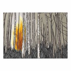 KESS InHouse Sam Posnick 'Smokey Forest Fire' Brown Orange Dog Place Mat, 13' x 18' >>> Special dog product just for you. See it now! : Dog food container