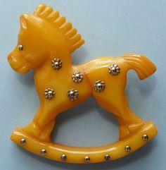 Bakelite Pin - Rocking Horse - Vintage - Rare