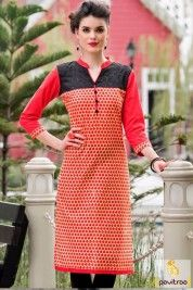 Red Color Neckline Cotton Kurti For Young College Girls #kurti, #casualkurti more: http://www.pavitraa.in/wholesale-catalog/cotton-long-kurtis-online-shopping-india/