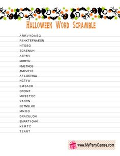 On this page you will find adorable Free Printable Halloween Word Scramble Game cards. I have made a list of 20 Halloween related scrambled words on these cards Halloween Emoji, Halloween Puzzles, Fun Halloween Games, Halloween Worksheets, Halloween Class Party, Halloween Words, Halloween Activities For Kids, Baby Halloween, Holidays Halloween