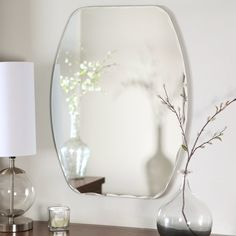 Frameless Freddie Wall Mirror - x in. - Every home needs at least one beautiful mirror, and the Frameless Freddie Wall Mirror is the perfect design. This stunning mirror's shape is betwe. Decor, Home Decor, Beautiful Mirrors, Mirror Designs, Living Room Mirrors, Vintage Living Room, Mirror Decor, Small Bathroom Mirrors, Glass Wall