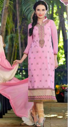 USD 30.44 Pink Cotton Embroidery Churidar Suit 48040