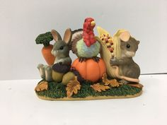 Charming Tails Figurine Be Thankful For Friends Thanksgiving   eBay