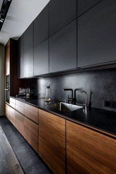Современный дизайн кухни в темных тонах