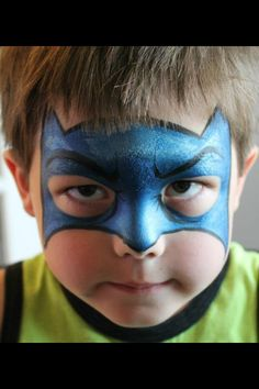 DIY Batman Face Paint. Nice outline ^ eyebrow detail on this one. #FacePainting