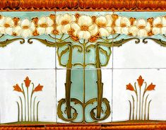 Inspiration for stenciled walls. Replace dogwood with lillies or lotus or aqua moth motif. Art Nouveau tile