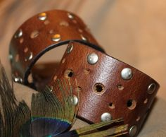 Dark Brown Leather Cuff Bracelet Silver Studs by 2rustynails. www.2RustyNails.etsy.com