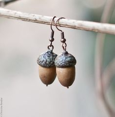 Acorn Earrings  Woodland Jewelry Fall Trends by PaciorkyArtStudio, $22.00. Not my usual style but quirky and fun for fall...