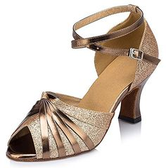 Auspicious beginning Fashion Womens Glitter Sequins Peep Toe Mid Chunky Heel Suede Leather Ankle Strappy Buckle Salsa Tango Latin Ballroom Dance Shoes Sandals -- Check out the image by visiting the link.