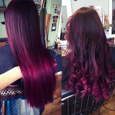 Mulberry magenta purple red balayage ombre brunette hair haircolor Steam Hair Design Newquay Salon Poppy Augarde Hairdressing Cornwall Hairdressers Olaplex alternative crazy color colour directions inspiration