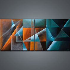 Original Abstract Painting Ready to Hang Teal by OsnatFineArt, $780.00