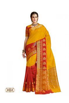 Party Wear Multi-Colour Chiffon Cotton Silk Saree  - AASHIKA-2412