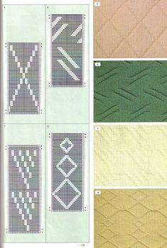 """Photo from album """"Pattern Library"""" on Yandex. Knitting Machine Patterns, Knitting Charts, Shibori, Knit Purl Stitches, How To Purl Knit, Pattern Library, Slip Stitch, Tricks, Knit Crochet"""