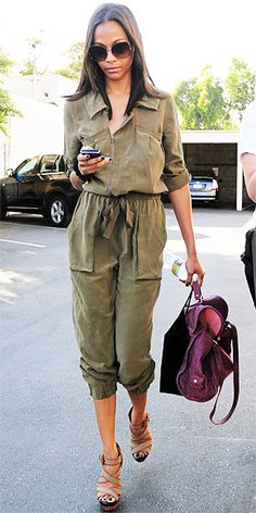 Love this laid back look! Olive green and plum work so well! Love the shoes too!