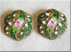 Fabulous VICTORIAN Antique Green & Pink ENAMEL Estate Buttons from jewelpigs on Ruby Lane