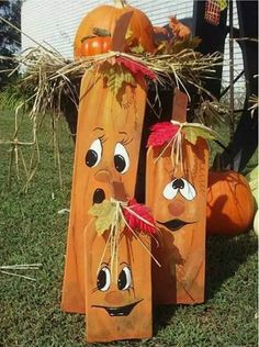 diy wood crafts for fall - Diy Fall Crafts Fall Wood Crafts, Halloween Wood Crafts, Pumpkin Crafts, Outdoor Halloween, Fall Halloween, Holiday Crafts, Halloween Decorations, Diy Crafts, Wooden Crafts