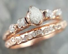 Custom Raw Diamond White gold Engagement Ring Rough Gold   Etsy