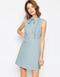 [SALE] Fashion Slim Bow A-line Sky Blue Cotton Short Dress High Waist Sleeveless Vintage One-piece Dress