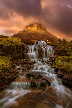 ~~The Dreamer Within ~ the rising sun over the waterfall and meadows, Mount Clements, Glacier National Park, Montana by Exploring Light~~