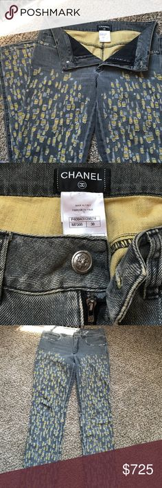 Authentic Chanel distressed jeans Authentic Chanel distressed jeans. These are grey/light black color with golden colored distressing all through legs, front and back. These have been worn but are still classic and in great condition! CHANEL Pants Boot Cut & Flare