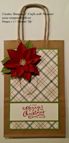Transformed Paper Gift Bag using Stampin' Up! Merry Moments Designer Series Paper, Reason for the Season Stamp Set & Festive Flower Builder Punch