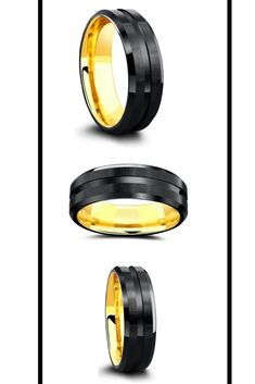 Men's black and yellow gold wedding band. This men's wedding band is crafted out of tungsten carbide with a yellow gold ION plating interior making it extremely durable. This unique mens wedding ring is comfort fit and will last a lifetime. #mensweddingring #mensweddingband #hisring