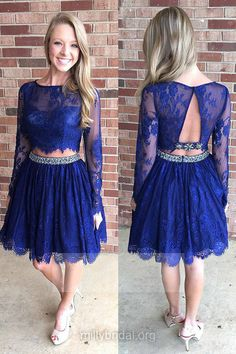 Two Piece Blue Prom Dresses,A-line Scoop Neck Lace Cocktail Club Dress,Knee-length Beading Formal Party Gowns,Long Sleeve Homecoming Dresses