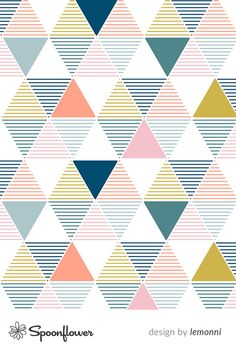 Modern Geometrics - fresh custom fabric by lemonni for sale on Spoonflower Geometric Designs, Geometric Shapes, Iphone Backgrounds, Iphone Wallpaper, Geometric Drawing, Custom Printed Fabric, Triangle Design, Scrapbook Sketches, Fabric Wallpaper