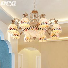 Find More Chandeliers Information about Gold chandeliers tiffany style antique lamp sconce tiffany light  conch glass for bedroom living room ceiling fixtures,High Quality glass belt,China glass tea light Suppliers, Cheap glass jar pendant light from DPG Lighting on Aliexpress.com