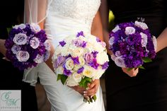 Purple and white bridal bouquets
