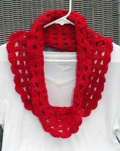 Lacy Crimson Cowl Scarf- Nice for Early Fall   Red Heart Super Saver Solids  Worsted / 10 ply (9 wpi)  5.5 mm (I)  One size  This pattern is available as a free Ravelry download  Stella Cowl  Perfect light weight scarf for fall. Quick to crochet.  Materials: Worsted weight yarn Size I crochet hook Tapestry Needle   For more information, see: http://tampabaycrochet.blogspot.com/2013