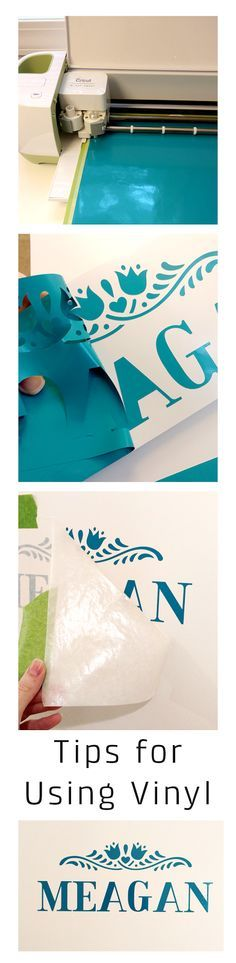 Helpful tips for cutting and applying vinyl. This post shows lots of step by step pictures for making personalized name signs for kids' doors, but use the same tips for using vinyl on anything!. (ad)
