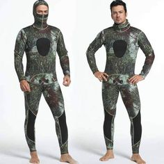 Men's 3mm Spearfishing Camo Wetsuit Hooded Two Piece Camouflage Diving Suit
