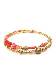 Camille Arm Candy Coral Beaded Bracelet Memory Wire Bracelet Asymmetrical Bracelet Bangle Arm Candy