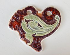 Handmade porcelain pendant heart . by Majoyoal on Etsy