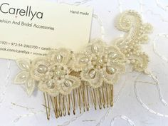 Bead embroidered lace hair comb, vintage wedding headpiece by carellya. A delicate vintage inspired design . All pearls gently hand-embroidered by us to a light ivory vintage lace creating this beautiful headpiece for your special day . You will also recieve a free gift with this item ♥ The headpiece is versatile so you can choose how to combine it into your hairstyle. sits beautifully on head, the perfect accessory for the vintage style bride!  Can be attached to a hair clip, hair comb or a…
