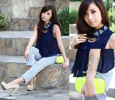Club Couture Blue Top, Extreme Finds Necklace, Call It Spring Lime Bag, Call It Spring Nude Heels, Zara Pinstripe Pants