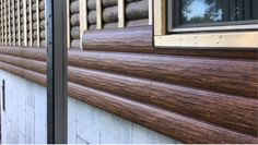 Resurfacing Over Worn Out Real Logs Use Furring Strips To Create A Flat Surface To Attach Steel Log Siding Get The Rustic Log Siding Outdoor Decor Log Cabin