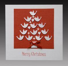 Handmade Christmas Cards | Handmade Christmas Card Doves Crystal Cards Classic
