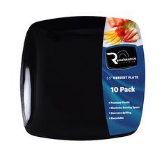 "Posh Party Supplies - Black 5.5"" Square Plastic Dessert Plate - 120 Plates, $43.98 (http://www.poshpartysupplies.com/elegant-dinnerware/elegant-plastic-wedding-and-paper-plates/black-5-5-square-plastic-dessert-plate-120-plates/)"