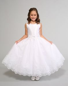 dbf481cf5 Sweetie Pie Collection Style 3027- WHITE Shantung Lace Dress with Floral  Accents