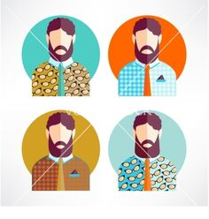 Retro Hipster avatar icon vector by file404 on VectorStock®